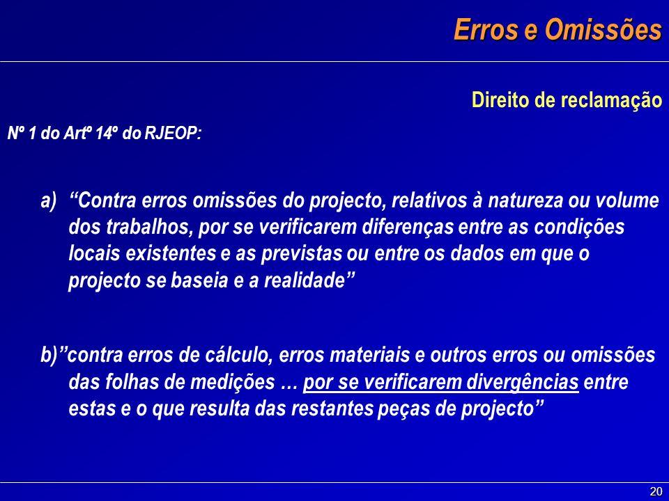 20 Erros e Omissões Direito de reclamação Nº 1 do Artº 14º do RJEOP: a)Contra erros omissões do projecto, relativos à natureza ou volume dos trabalhos