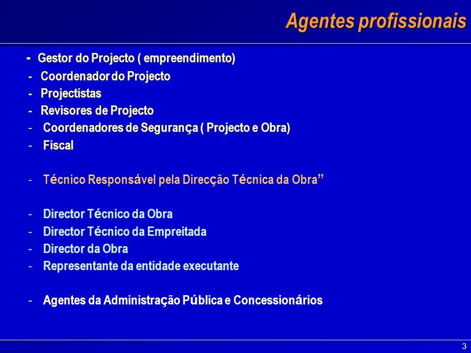 3 Agentes profissionais - Gestor do Projecto ( empreendimento) - Coordenador do Projecto - Projectistas - Revisores de Projecto - Coordenadores de Seg