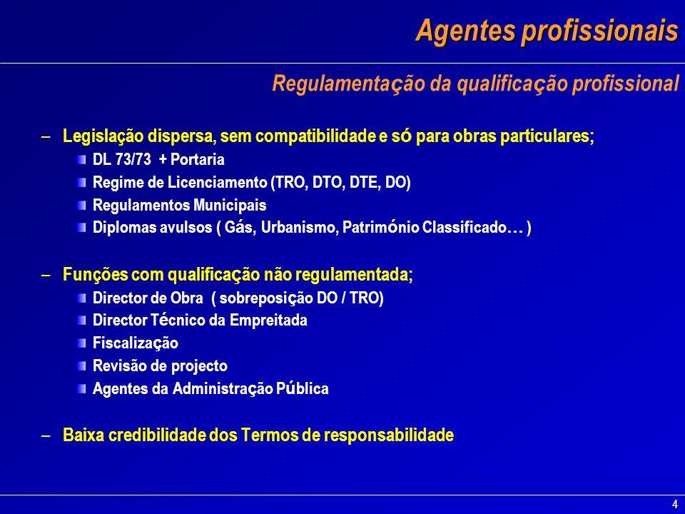 4 Agentes profissionais Regulamenta ç ão da qualifica ç ão profissional – Legislação dispersa, sem compatibilidade e s ó para obras particulares; DL 7
