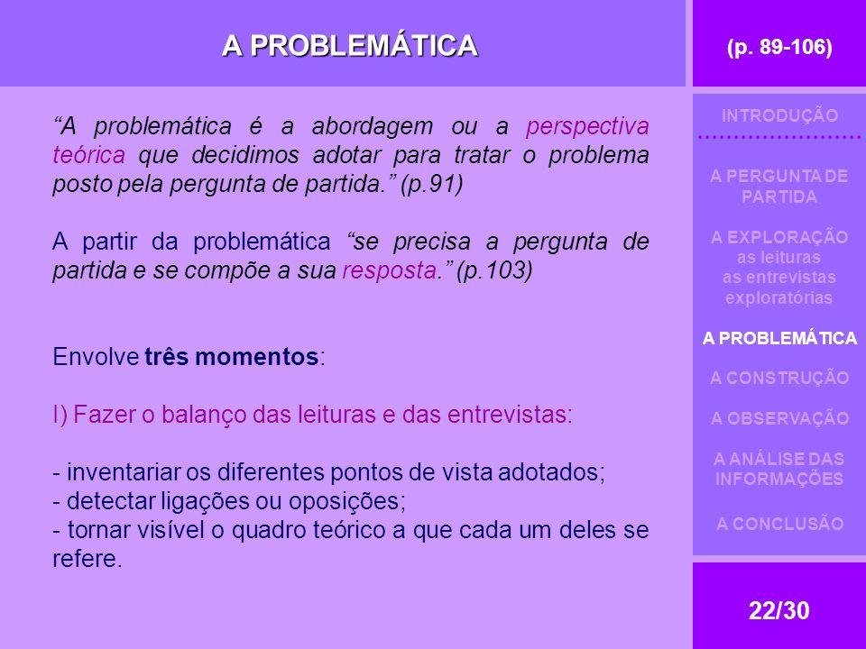 (p. 89-106) 22/30 A PROBLEMÁTICA A problemática é a abordagem ou a perspectiva teórica que decidimos adotar para tratar o problema posto pela pergunta