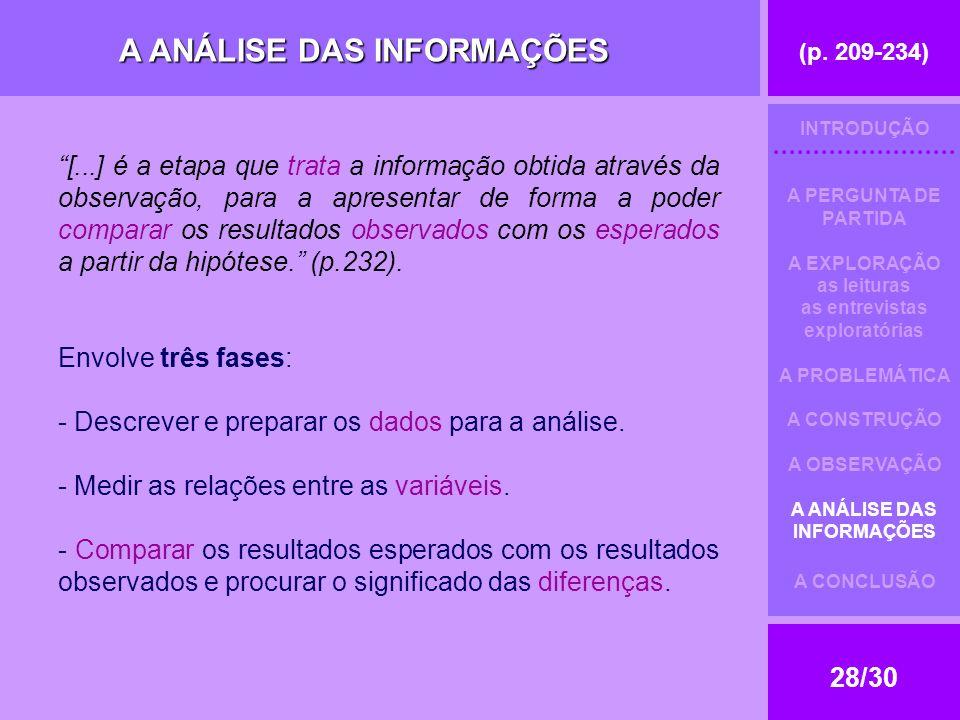 (p. 209-234) 28/30 A ANÁLISE DAS INFORMAÇÕES [...] é a etapa que trata a informação obtida através da observação, para a apresentar de forma a poder c