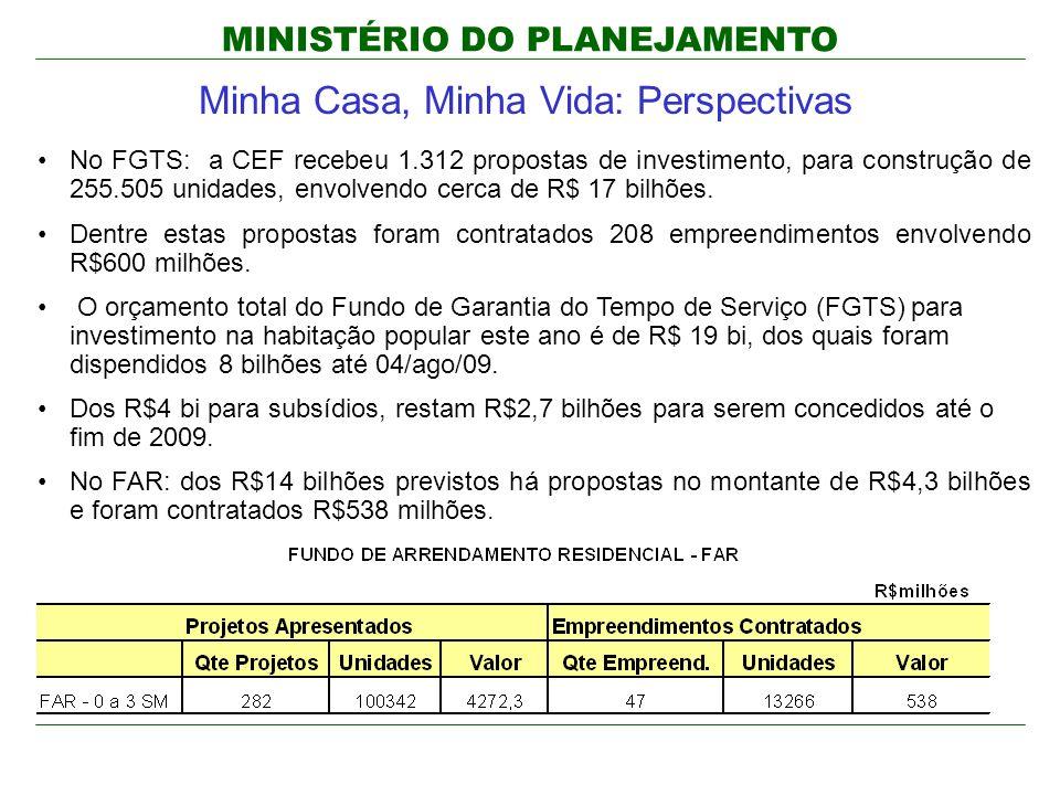 MINISTÉRIO DO PLANEJAMENTO Minha Casa, Minha Vida: Perspectivas No FGTS: a CEF recebeu 1.312 propostas de investimento, para construção de 255.505 unidades, envolvendo cerca de R$ 17 bilhões.