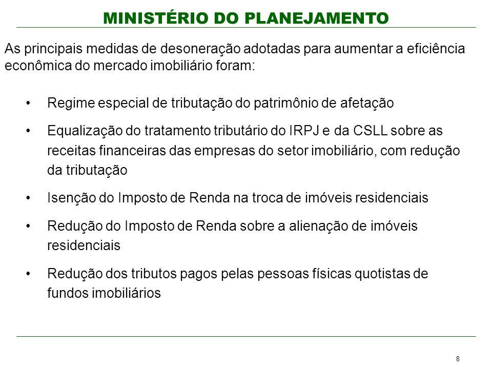 MINISTÉRIO DO PLANEJAMENTO Regime especial de tributação do patrimônio de afetação Equalização do tratamento tributário do IRPJ e da CSLL sobre as rec