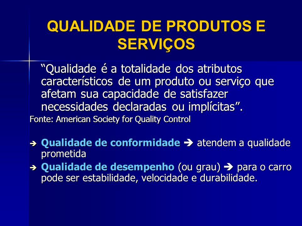 Qualidade é a totalidade dos atributos característicos de um produto ou serviço que afetam sua capacidade de satisfazer necessidades declaradas ou imp