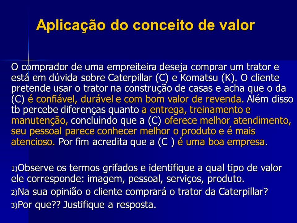 Aplicação do conceito de valor O comprador de uma empreiteira deseja comprar um trator e está em dúvida sobre Caterpillar (C) e Komatsu (K). O cliente