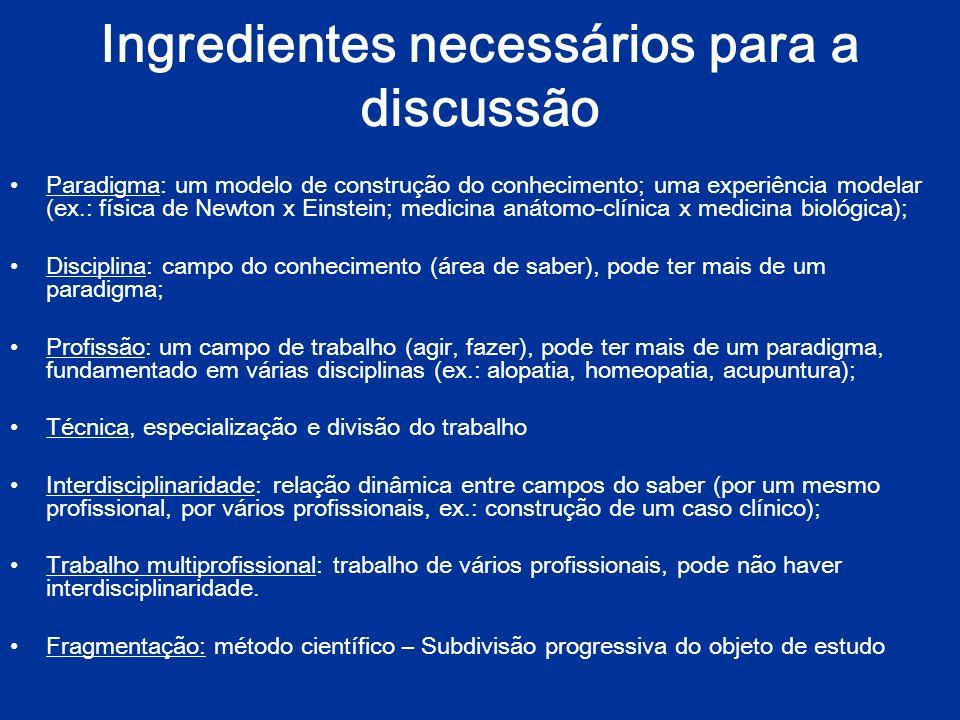 Ingredientes necessários para a discussão Pensamento complexo x especialização (fragmentação do conhecimento) A ciência atual vive um impasse.