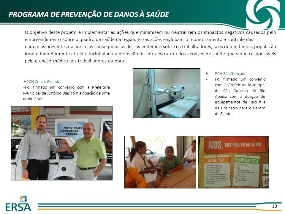 13 PROGRAMA DE PREVENÇÃO DE DANOS À SAÚDE PCH Cocais Grande Foi firmado um convênio com a Prefeitura Municipal de Antônio Dias com a doação de uma amb