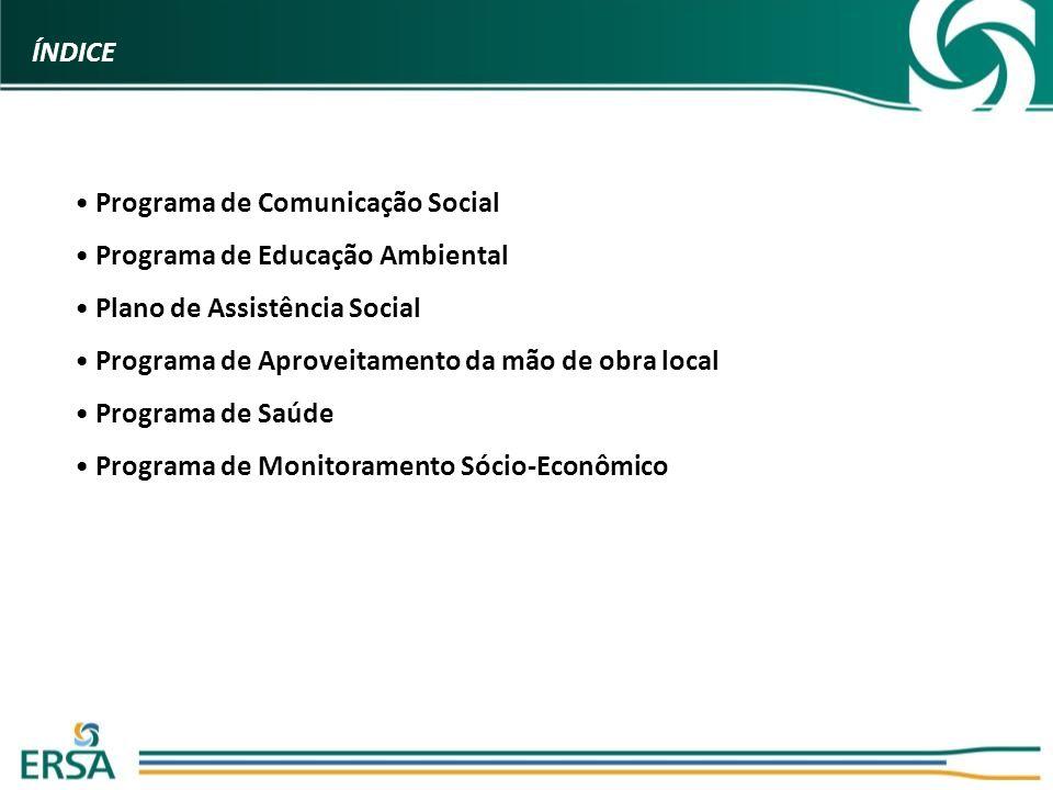 Programa de Comunicação Social Programa de Educação Ambiental Plano de Assistência Social Programa de Aproveitamento da mão de obra local Programa de Saúde Programa de Monitoramento Sócio-Econômico ÍNDICE