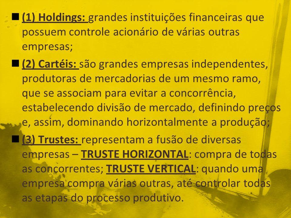 (1) Holdings: grandes instituições financeiras que possuem controle acionário de várias outras empresas; (2) Cartéis: são grandes empresas independent