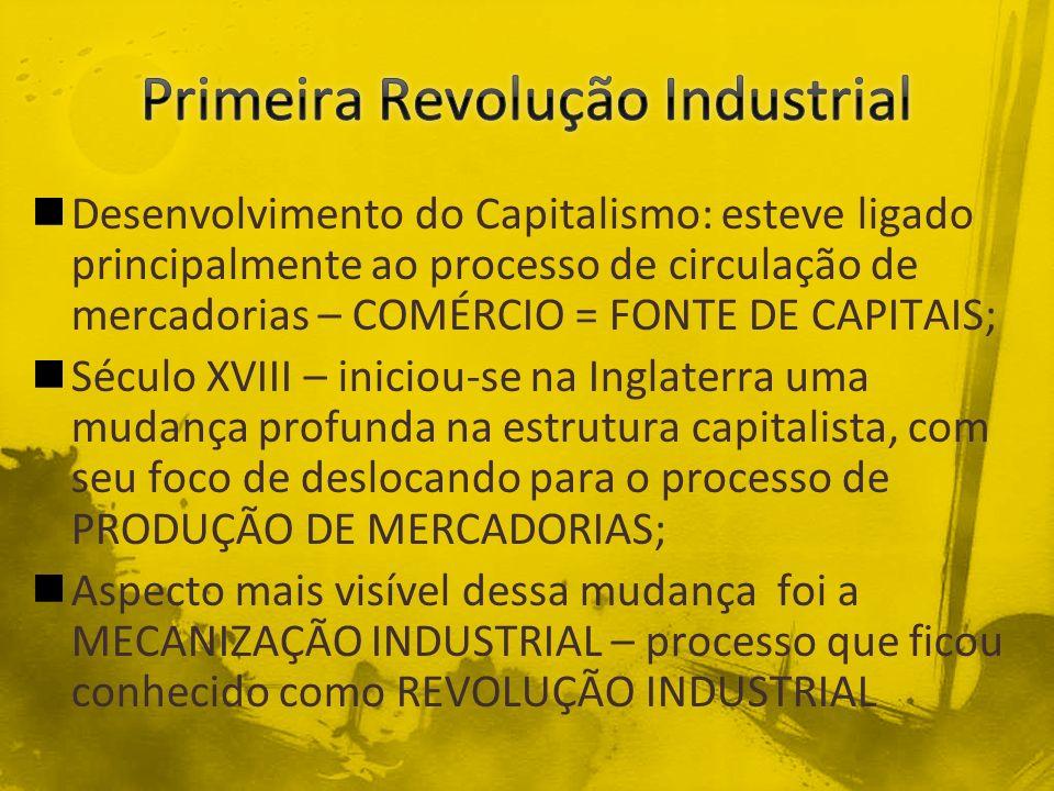 Desenvolvimento do Capitalismo: esteve ligado principalmente ao processo de circulação de mercadorias – COMÉRCIO = FONTE DE CAPITAIS; Século XVIII – i