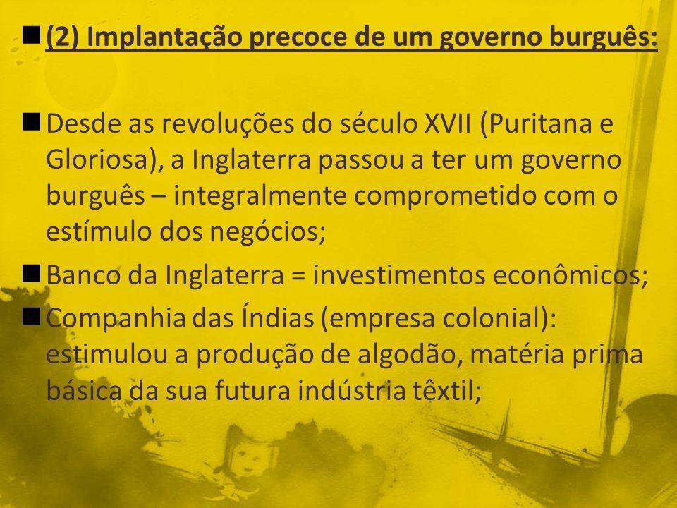 (2) Implantação precoce de um governo burguês: Desde as revoluções do século XVII (Puritana e Gloriosa), a Inglaterra passou a ter um governo burguês
