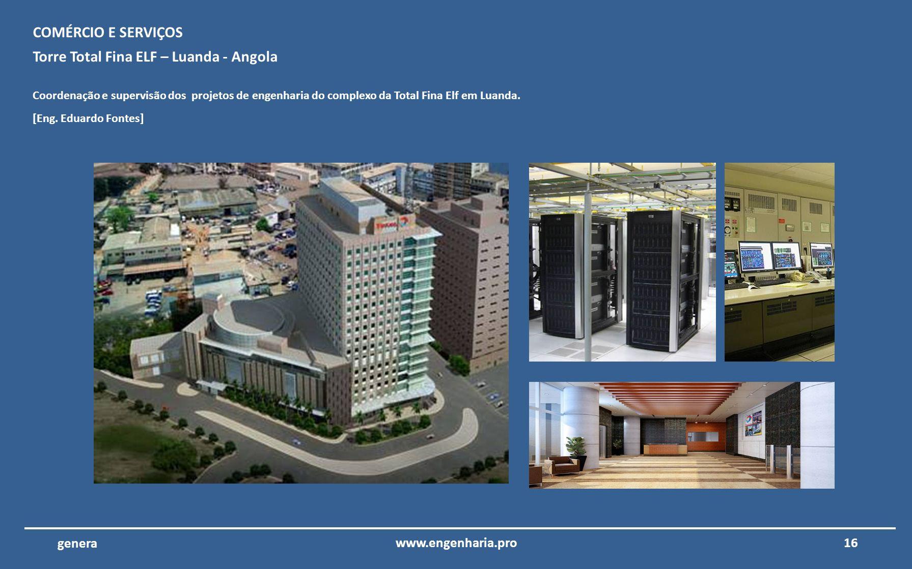 15www.engenharia.pro genera Aeroporto Internacional do Algarve – Faro – ANA Coordenação e supervisão dos projetos de engenharia da reconstrução da áre