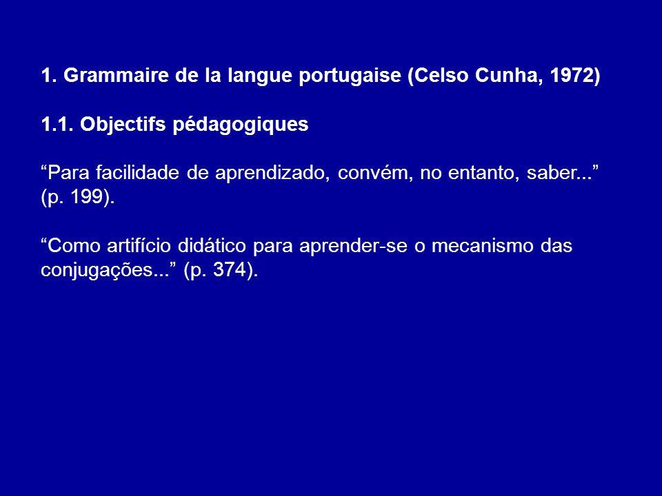 1. Grammaire de la langue portugaise (Celso Cunha, 1972) 1.1. Objectifs pédagogiques Para facilidade de aprendizado, convém, no entanto, saber... (p.