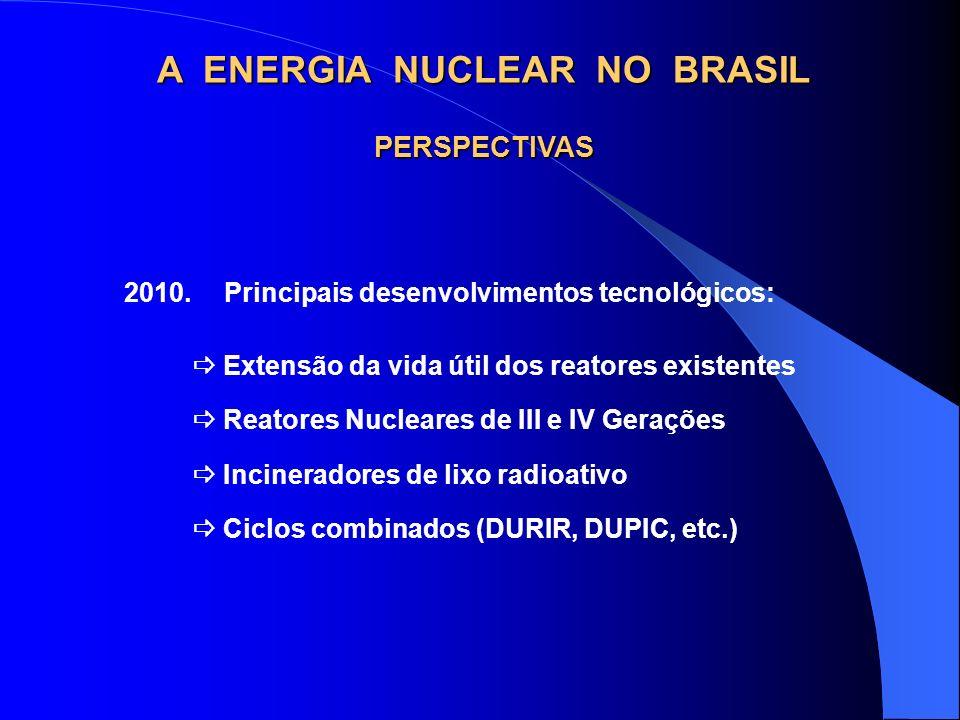 2010.Principais desenvolvimentos tecnológicos: PERSPECTIVAS Extensão da vida útil dos reatores existentes Reatores Nucleares de III e IV Gerações Inci