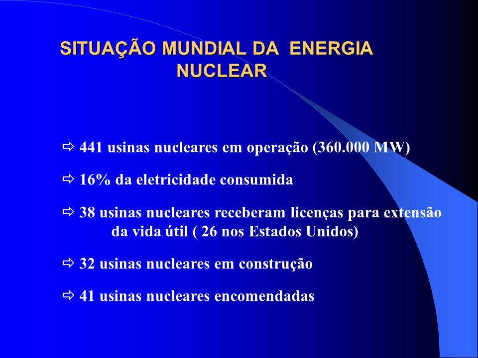 SITUAÇÃO MUNDIAL DA ENERGIA NUCLEAR 441 usinas nucleares em operação (360.000 MW) 16% da eletricidade consumida 38 usinas nucleares receberam licenças
