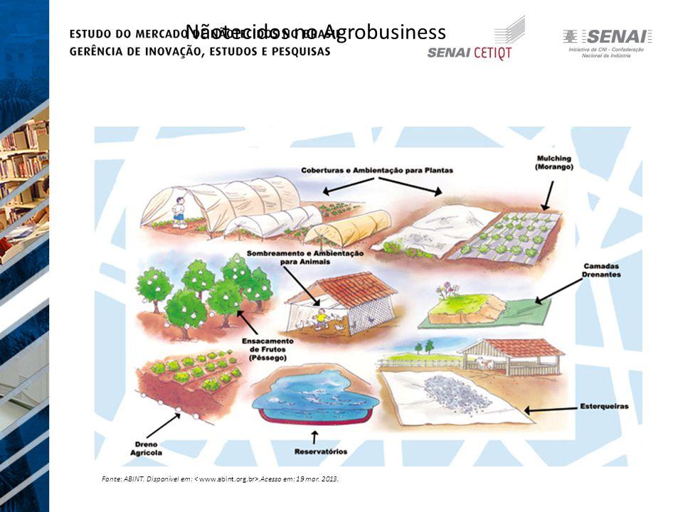 Nãotecidos no Agrobusiness Fonte: ABINT. Disponível em:.Acesso em: 19 mar. 2013.