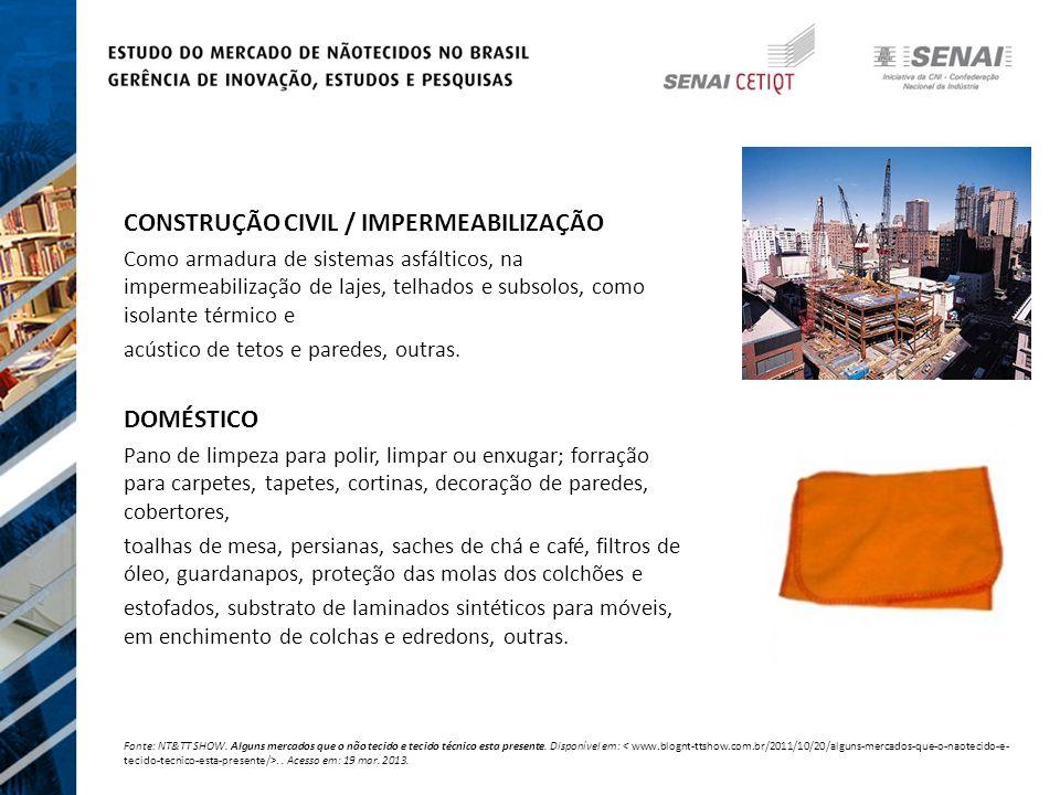 CONSTRUÇÃO CIVIL / IMPERMEABILIZAÇÃO Como armadura de sistemas asfálticos, na impermeabilização de lajes, telhados e subsolos, como isolante térmico e acústico de tetos e paredes, outras.