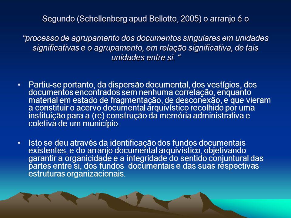Segundo (Schellenberg apud Bellotto, 2005) o arranjo é o processo de agrupamento dos documentos singulares em unidades significativas e o agrupamento,