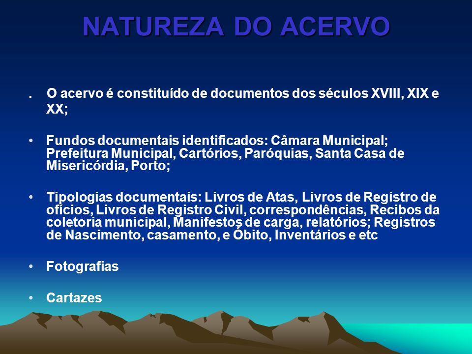 NATUREZA DO ACERVO.