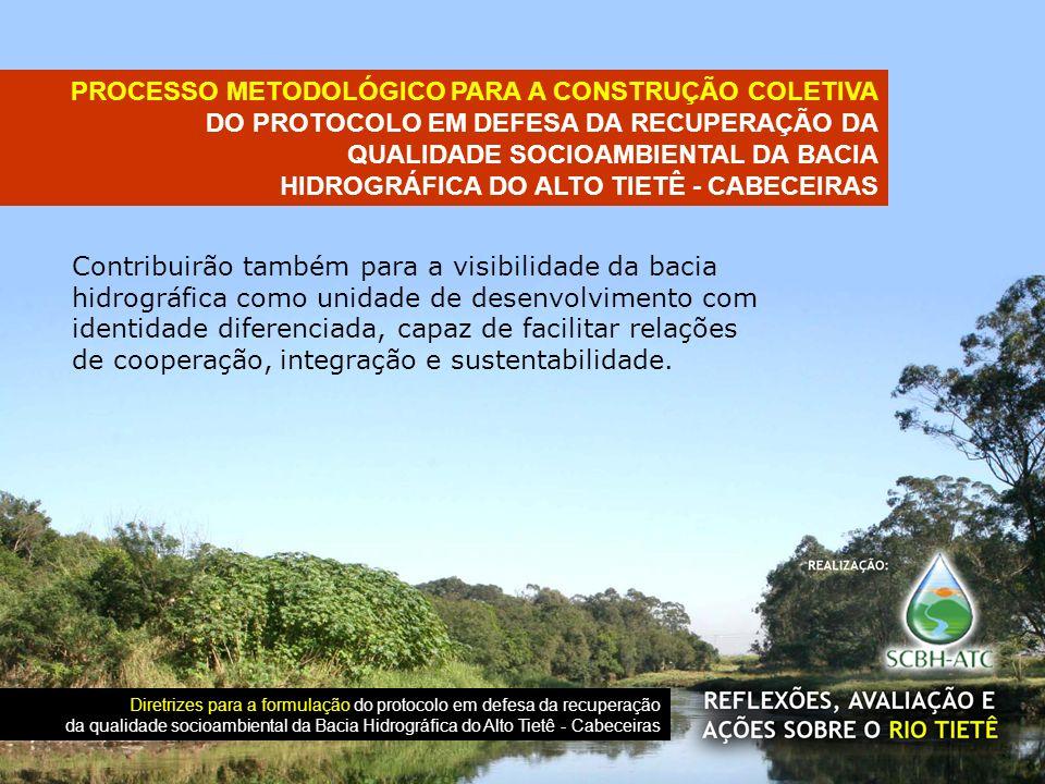 Contribuirão também para a visibilidade da bacia hidrográfica como unidade de desenvolvimento com identidade diferenciada, capaz de facilitar relações de cooperação, integração e sustentabilidade.