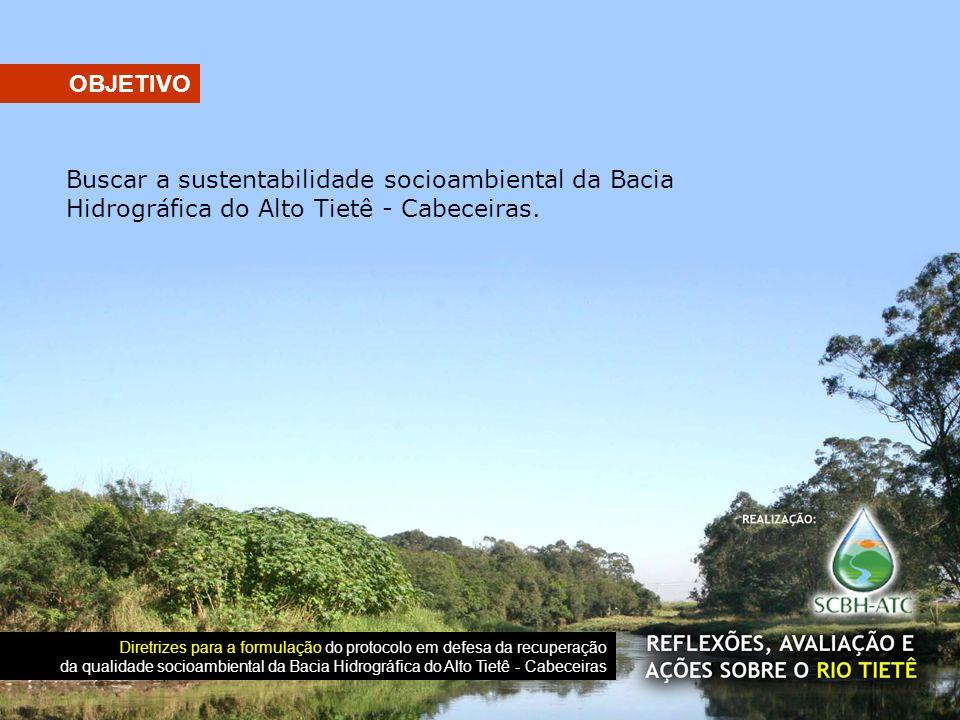 Buscar a sustentabilidade socioambiental da Bacia Hidrográfica do Alto Tietê - Cabeceiras. OBJETIVO Diretrizes para a formulação do protocolo em defes