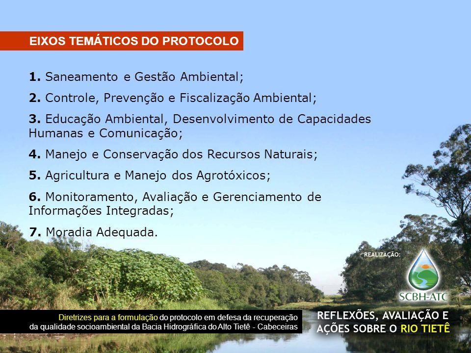 1. Saneamento e Gestão Ambiental; 2. Controle, Prevenção e Fiscalização Ambiental; 3. Educação Ambiental, Desenvolvimento de Capacidades Humanas e Com