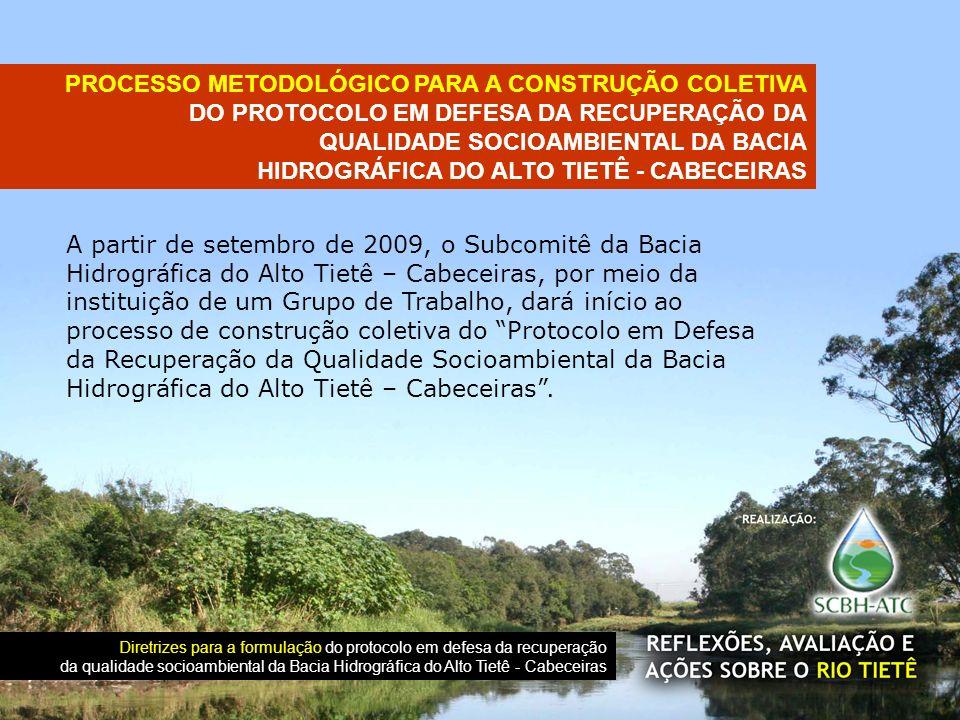 A partir de setembro de 2009, o Subcomitê da Bacia Hidrográfica do Alto Tietê – Cabeceiras, por meio da instituição de um Grupo de Trabalho, dará iníc