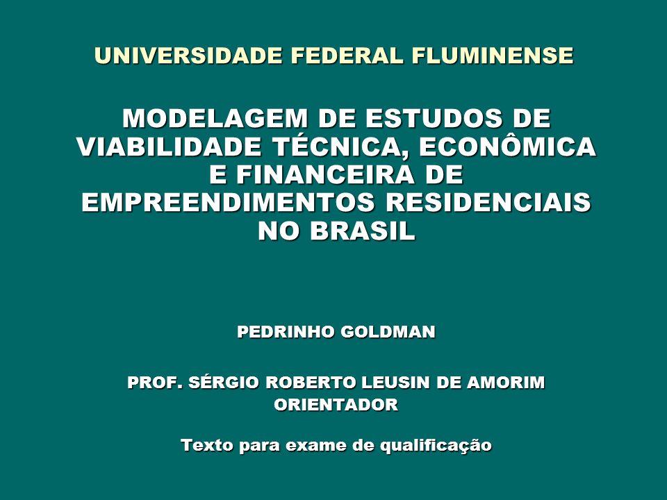 UNIVERSIDADE FEDERAL FLUMINENSE MODELAGEM DE ESTUDOS DE VIABILIDADE TÉCNICA, ECONÔMICA E FINANCEIRA DE EMPREENDIMENTOS RESIDENCIAIS NO BRASIL PEDRINHO