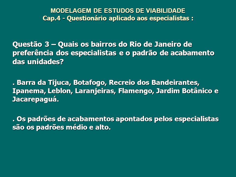 MODELAGEM DE ESTUDOS DE VIABILIDADE Cap.4 - Questionário aplicado aos especialistas : Questão 3 – Quais os bairros do Rio de Janeiro de preferência do