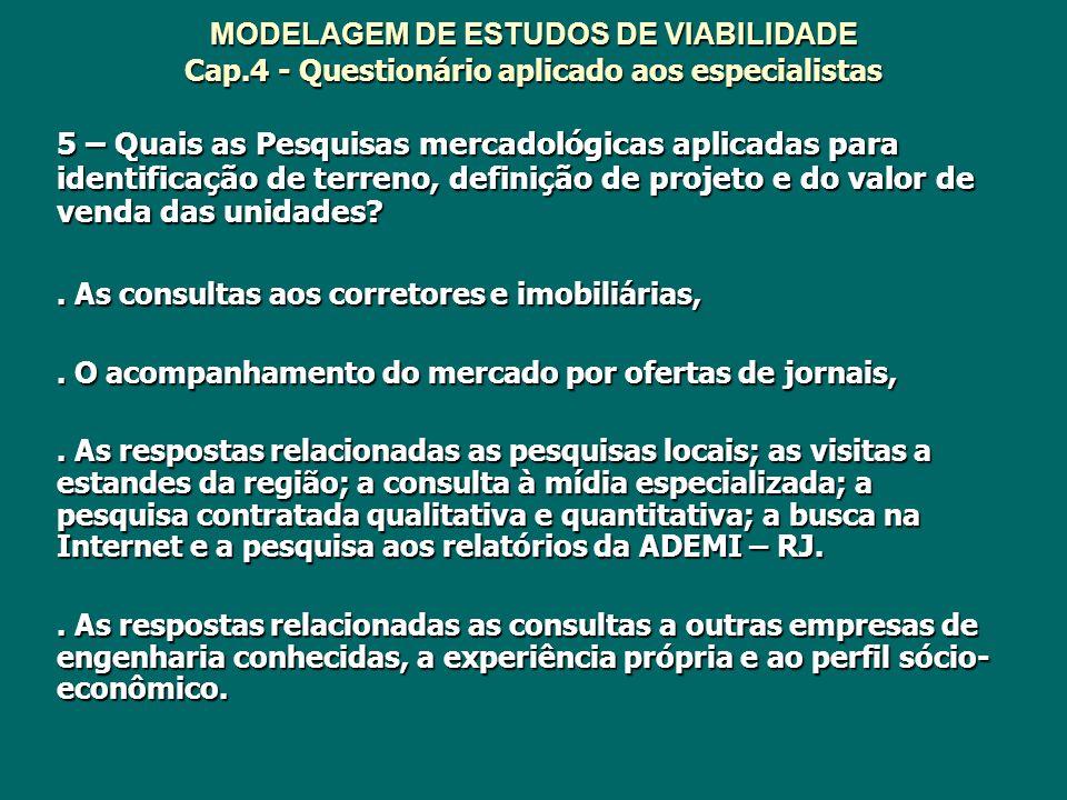 MODELAGEM DE ESTUDOS DE VIABILIDADE Cap.4 - Questionário aplicado aos especialistas 5 – Quais as Pesquisas mercadológicas aplicadas para identificação