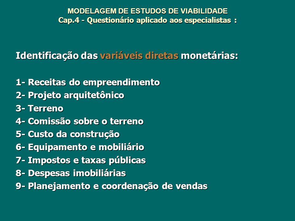 MODELAGEM DE ESTUDOS DE VIABILIDADE Cap.4 - Questionário aplicado aos especialistas : Identificação das variáveis diretas monetárias: 1- Receitas do e