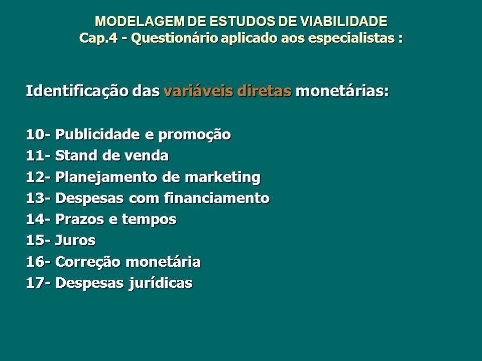 MODELAGEM DE ESTUDOS DE VIABILIDADE Cap.4 - Questionário aplicado aos especialistas : Identificação das variáveis diretas monetárias: 10- Publicidade