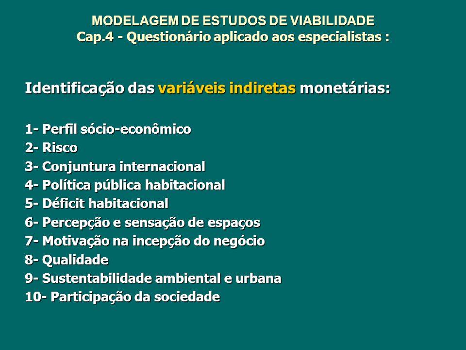 MODELAGEM DE ESTUDOS DE VIABILIDADE Cap.4 - Questionário aplicado aos especialistas : Identificação das variáveis indiretas monetárias: 1- Perfil sóci