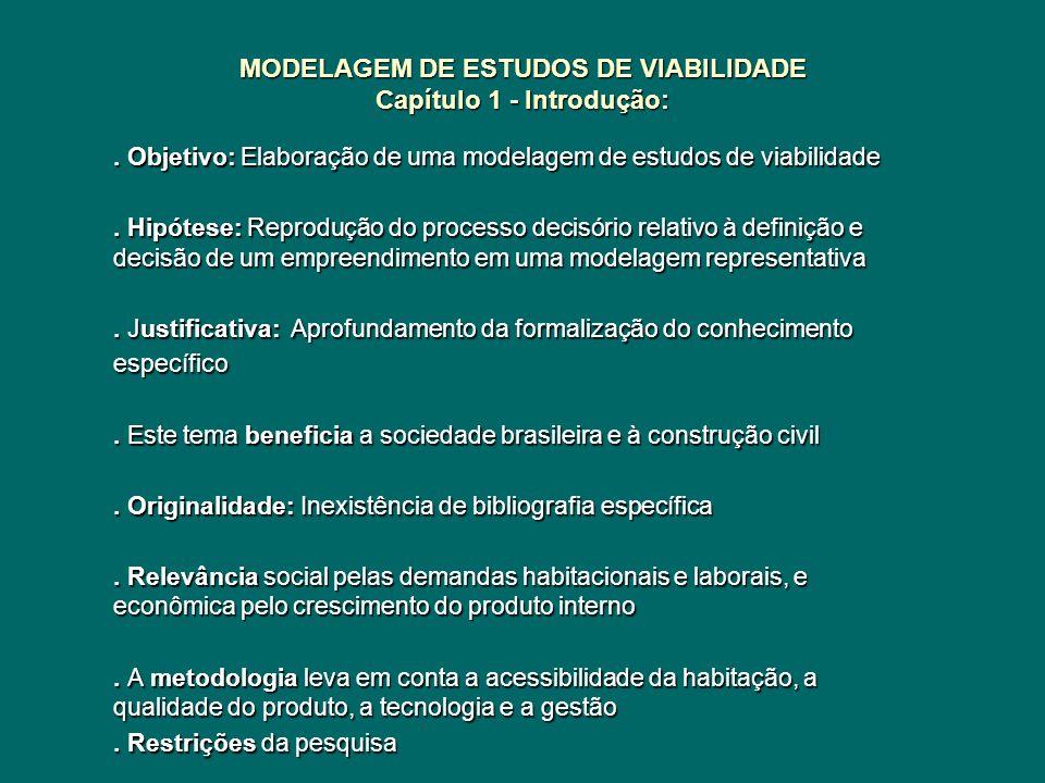 MODELAGEM DE ESTUDOS DE VIABILIDADE Capítulo 1 - Introdução:. Objetivo: Elaboração de uma modelagem de estudos de viabilidade. Hipótese: Reprodução do
