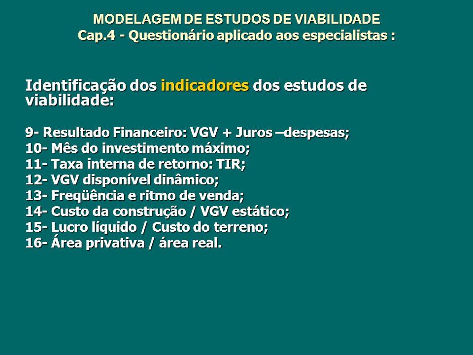 MODELAGEM DE ESTUDOS DE VIABILIDADE Cap.4 - Questionário aplicado aos especialistas : Identificação dos indicadores dos estudos de viabilidade: 9- Res