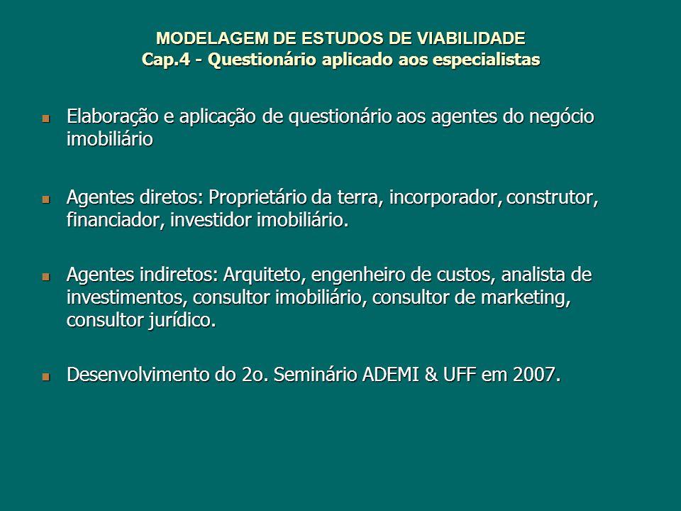 MODELAGEM DE ESTUDOS DE VIABILIDADE Cap.4 - Questionário aplicado aos especialistas Elaboração e aplicação de questionário aos agentes do negócio imob