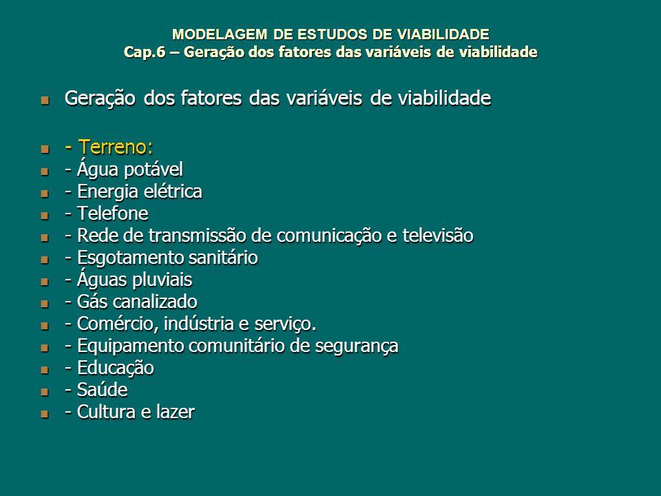 MODELAGEM DE ESTUDOS DE VIABILIDADE Cap.6 – Geração dos fatores das variáveis de viabilidade Geração dos fatores das variáveis de viabilidade Geração