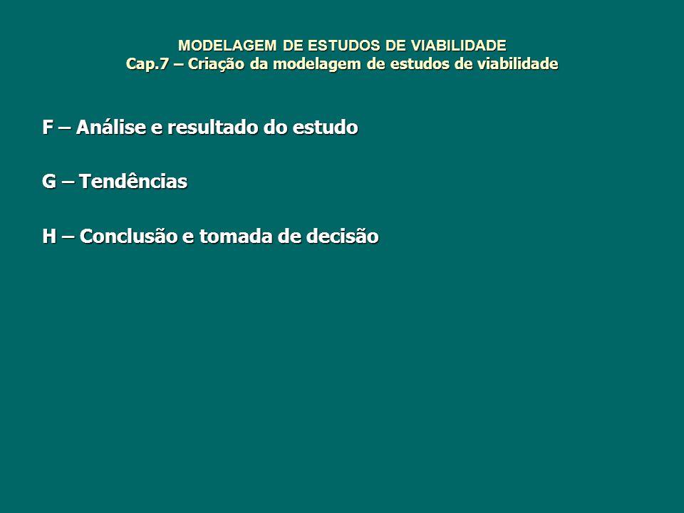 MODELAGEM DE ESTUDOS DE VIABILIDADE Cap.7 – Criação da modelagem de estudos de viabilidade F – Análise e resultado do estudo G – Tendências H – Conclu