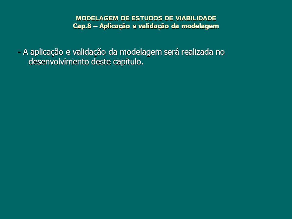 MODELAGEM DE ESTUDOS DE VIABILIDADE Cap.8 – Aplicação e validação da modelagem - A aplicação e validação da modelagem será realizada no desenvolviment