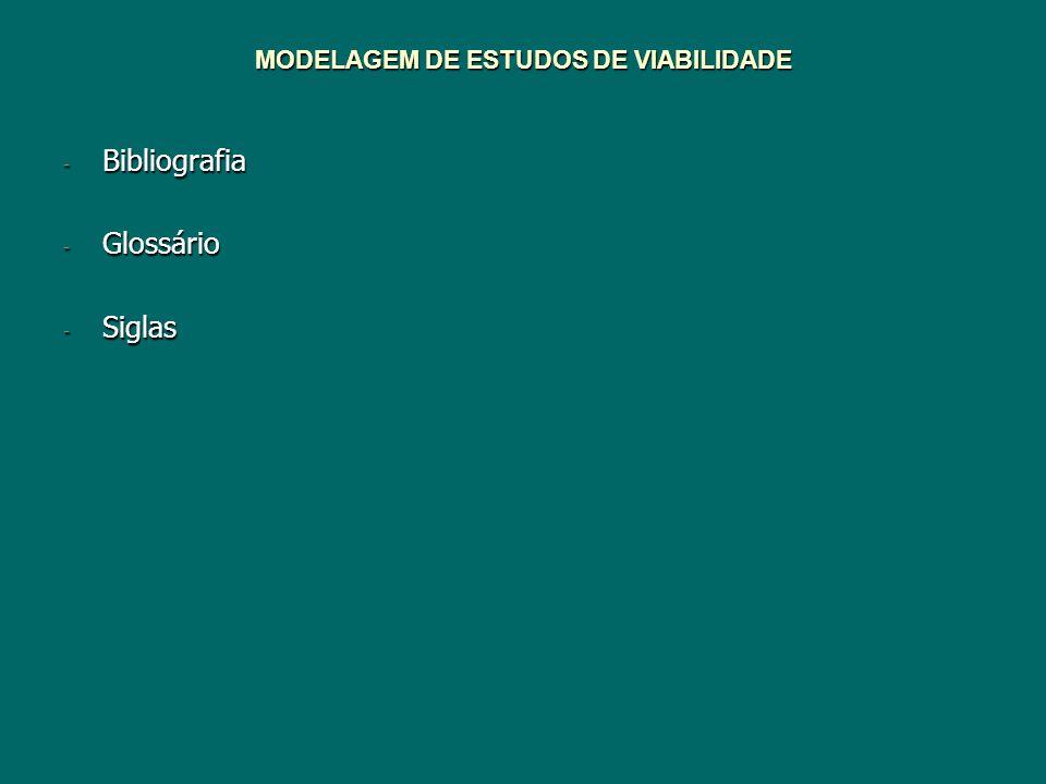 MODELAGEM DE ESTUDOS DE VIABILIDADE - Bibliografia - Glossário - Siglas