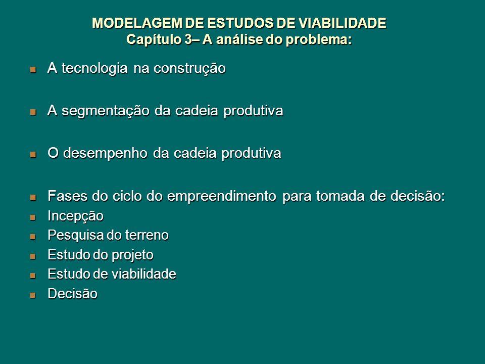 MODELAGEM DE ESTUDOS DE VIABILIDADE Capítulo 3– A análise do problema: A tecnologia na construção A tecnologia na construção A segmentação da cadeia p