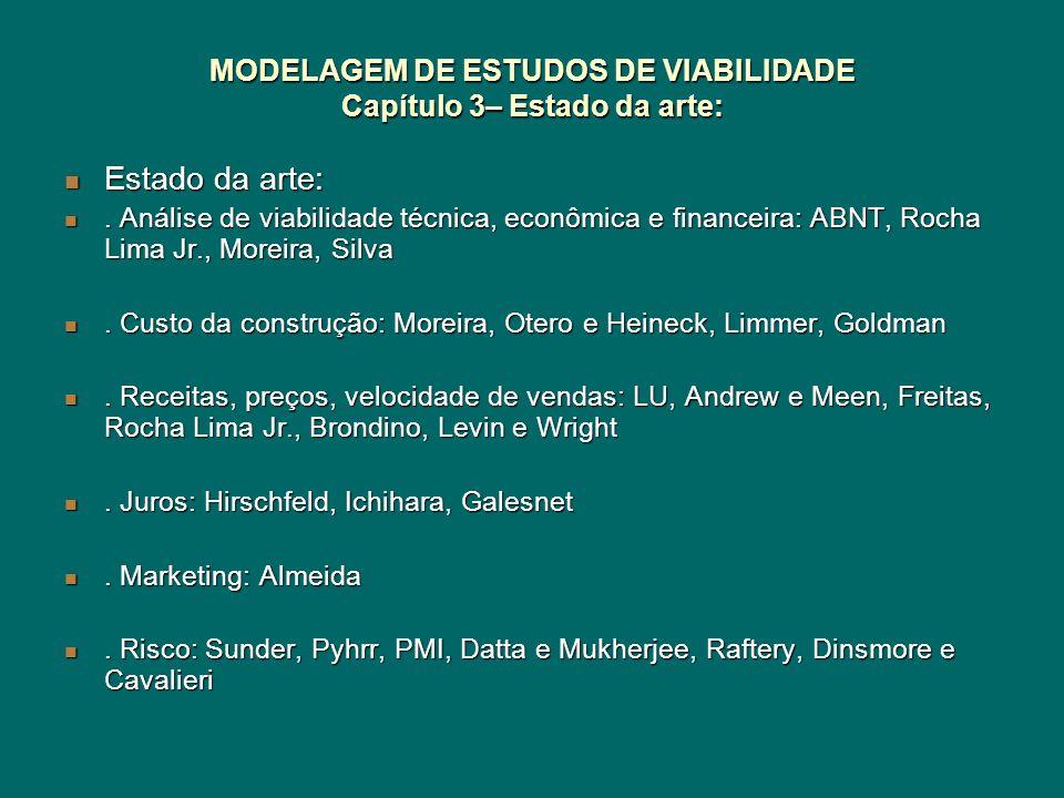 MODELAGEM DE ESTUDOS DE VIABILIDADE Capítulo 3– Estado da arte: Estado da arte: Estado da arte:. Análise de viabilidade técnica, econômica e financeir