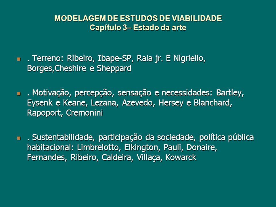MODELAGEM DE ESTUDOS DE VIABILIDADE Cap.7 – Criação da modelagem de estudos de viabilidade Modelo preliminar simplificado obtido pelos resultados dos estudos de casos.