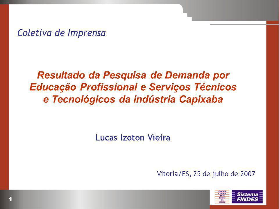 1 Coletiva de Imprensa Resultado da Pesquisa de Demanda por Educação Profissional e Serviços Técnicos e Tecnológicos da indústria Capixaba Lucas Izoto