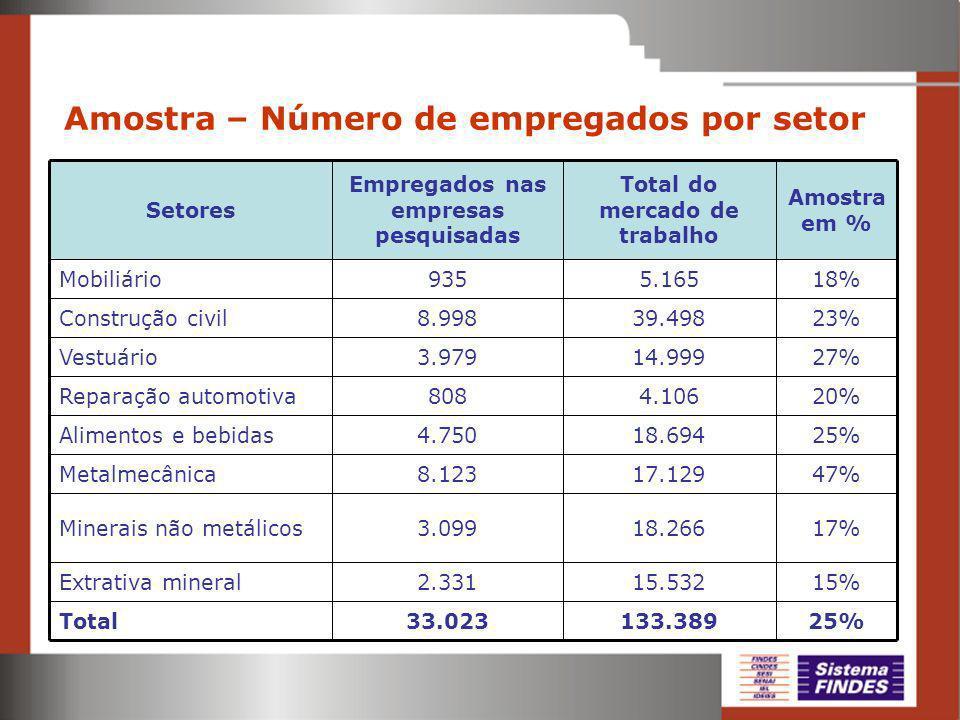 Amostra – Número de empregados por setor 25%133.38933.023Total 15%15.5322.331Extrativa mineral 17%18.2663.099Minerais não metálicos 47%17.1298.123Metalmecânica 25%18.6944.750Alimentos e bebidas 20%4.106808Reparação automotiva 27%14.9993.979Vestuário 23%39.4988.998Construção civil 18%5.165935Mobiliário Amostra em % Total do mercado de trabalho Empregados nas empresas pesquisadas Setores