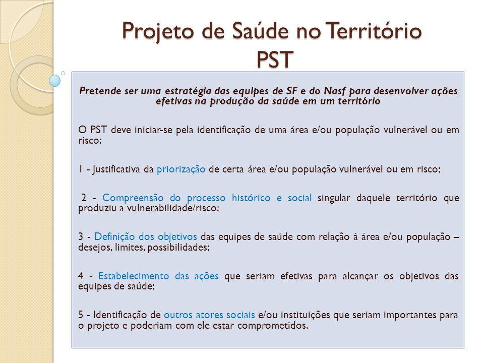 Projeto de Saúde no Território PST Pretende ser uma estratégia das equipes de SF e do Nasf para desenvolver ações efetivas na produção da saúde em um