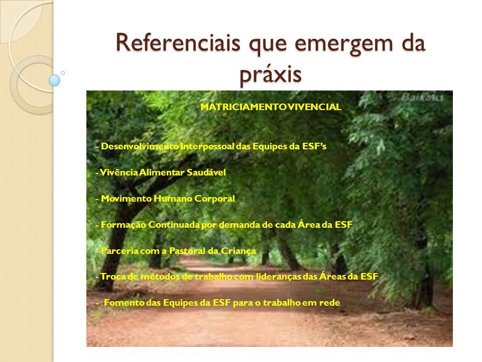 Referenciais que emergem da práxis MATRICIAMENTO VIVENCIAL - Desenvolvimento Interpessoal das Equipes da ESFs - Vivência Alimentar Saudável - Moviment