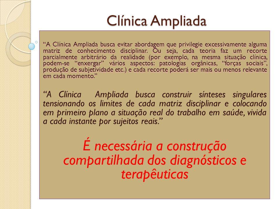 Clínica Ampliada A Clínica Ampliada busca evitar abordagem que privilegie excessivamente alguma matriz de conhecimento disciplinar. Ou seja, cada teor
