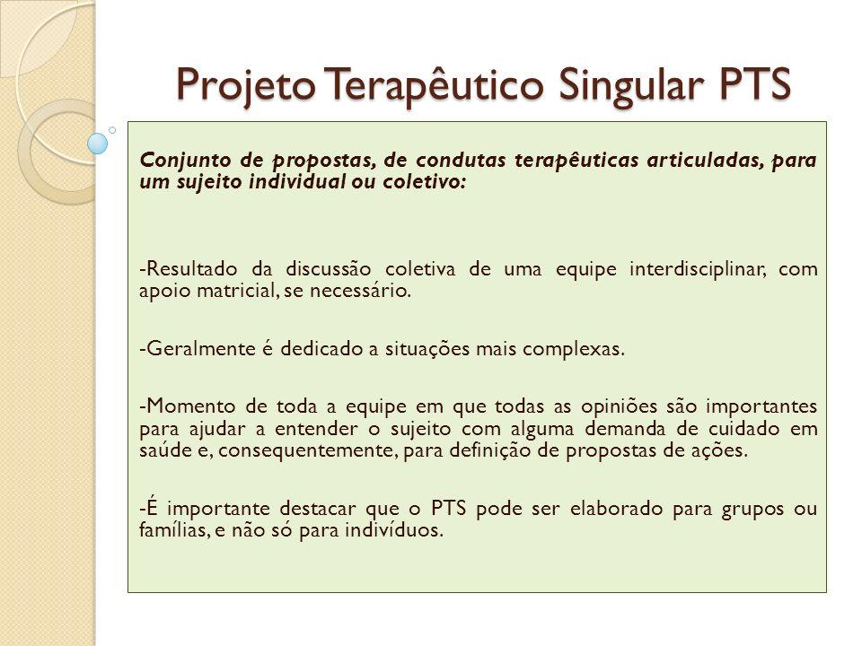Projeto Terapêutico Singular PTS Conjunto de propostas, de condutas terapêuticas articuladas, para um sujeito individual ou coletivo: -Resultado da di