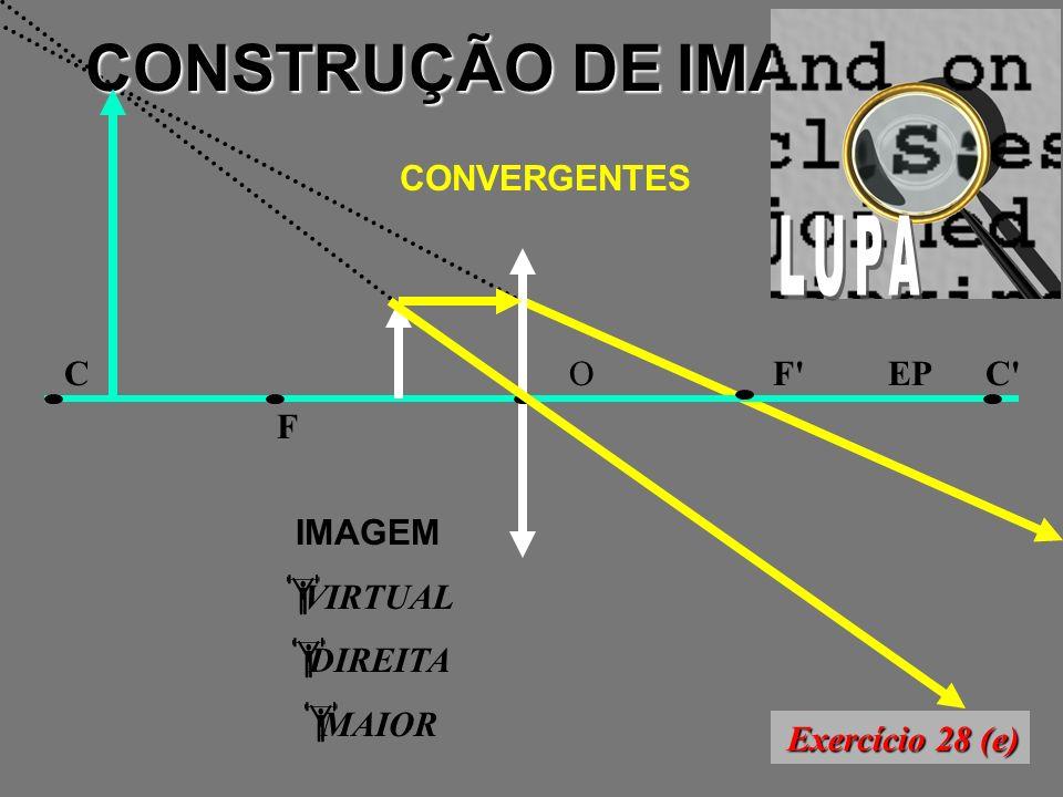CONSTRUÇÃO DE IMAGENS CONVERGENTES F F CC OEP IMAGEM VIRTUAL DIREITA MAIOR Exercício 28 (e)